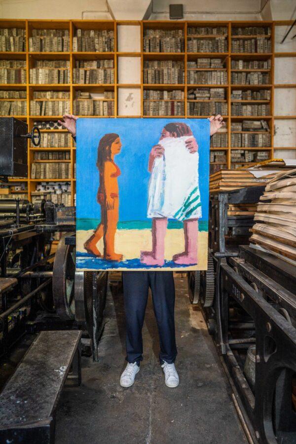 beach-towel-todd-bienvenu-galerie-sebastien-bertrand-jrp-editions-lithograph-presentation-printing-house-paris