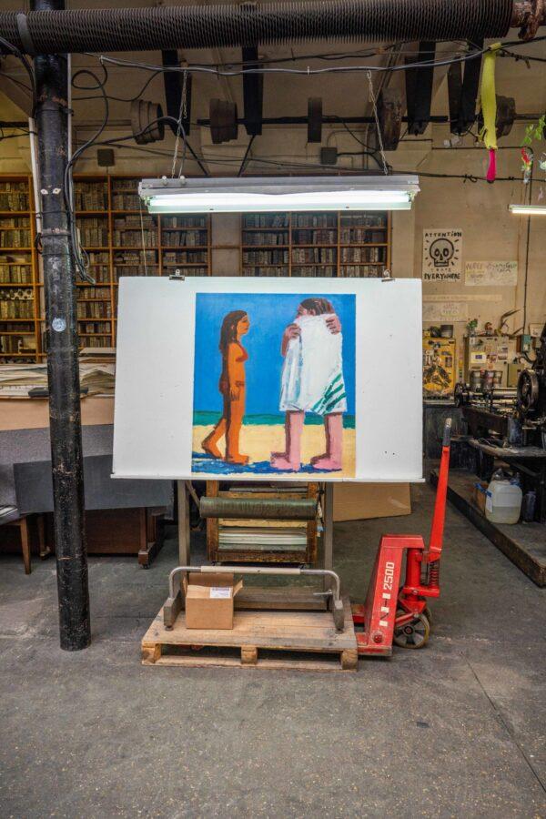 beach-towel-todd-bienvenu-lithograph-jrp-editions-galerie-sebastien-bertrand-publishing-house-paris